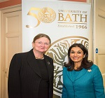 HRH Princess Sarvath El Hassan attends the celebrations of the 50th Anniversary of the University of Bath in the United Kingdom. HRH was awarded an honorary doctorate degree in education from the University of Bath in 2015.